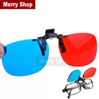 Wholesale 2014 New Universal type D glasses Clip Red Blue Cyan D glasses Anaglyph NVIDIA D vision Plastic glasses