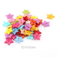 Quilt Accessories Buttons  200pcs Mixed Colorful Star Shaped 2 Hole Nylon Sewing Buttons Scrapbooking 16mm 111637