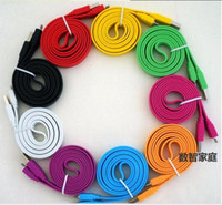 Wholesale Free DHL Color Flat Noodle Micro USB Cable m V8 pin Charger Cord Universal for Samsung Galaxy S3 S4 Note HTC Mobile Phone FT FT
