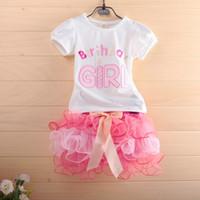 Girl Summer  2014 New Birthday Girl t-shirt + cake skirt tutu gauze pettiskirt 2 pcs dress suit cake skirt little girl suit children set outfit clothes