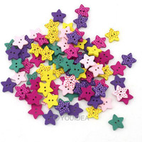 Quilt Accessories Buttons  Star Shaped 200pcs Mixed Colorful Wood Painting Sewing Buttons Scrapbook Hot sale