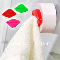 Plastic Eco-Friendly,Stocked  Free Shipping 3PCS Bag Innovative Items Flawless lips Printed Towel Hook With Sucker Towel Rack Bathroom Accessories Sets
