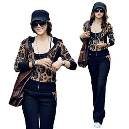 Wholesale Vogue leopard grain long sleeve tracksuit hoodies suit spring summer autumn winter M XL women sport suit