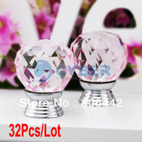 Ceramic Furniture Handle & Knob TK0739# Wholesale 32Pcs Lot 30mm Glass Crystal Cabinet Knob Drawer Pull Handle Kitchen Door Wardrobe Hardware Clear Pink TK0739