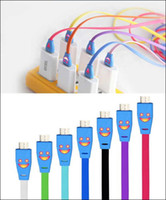 Wholesale 200PCS Visible Led Light Smile Face Flat Noodle USB Data Sync Charge Cable adapter for Samsung Galaxy S5 S4 S3 DHL Free