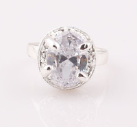 Wholesale Fashion Cubic Zircon Silver P Jewelry Ring Shiny CZ Crystal Ring Engagement Jewelry ZR4