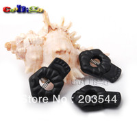 Wholesale 100pcs Pack Flower Stopper Cord Lock Toggle Clip ABS Plastic Black For Cord Shoelace Backpack Garment Accessories FLS058 B