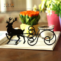 Wholesale Black iron reindeer mousse wrought iron decoration candle holder christmas decoration christmas gift wedding decor supplies cheap