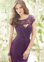 Reference Images Pleats  Lace Detachable Sleeves Adorable Purple Pleats A-Line Bridesmaid Dresses Sweetheart Neckline Lace Detachable Sleeves Backless Chiffon Floor-Length Prom Gown
