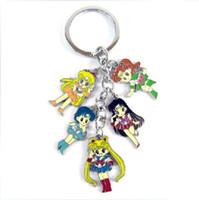Wholesale 5pcs set Japanese Anime Sailor Moon pendant Metal Doll Figure Keychain Keyring
