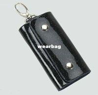 Wholesale 2PCS Fashion Black Leather Key holder case bag
