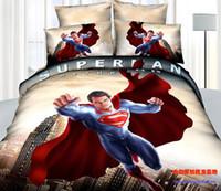 Adult Twill 100% Cotton 3D Superman bedding comforter set sets queen size bedspread duvet cover bed sheet sheets quilt linen oil painting 100% cotton
