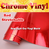 Wholesale High Quality Stretchable Red Chrome Vinyl Wrap Car Wrapping Air Free Bubble Size M Roll ft x ft