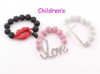 Beaded, Strands baby loves disco - Children Sideways Cross Shamballa Bracelet Baby Kids Mickey Love Heart Lip Crystal Disco Ball Bracelet ZB50