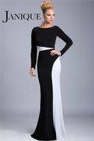 Wholesale JANIQUE White Black Evening Dresses Sheath Bateau Neck Sweep Train Mother s Prom Party Gowns Long Sleeves celebrity Dresses Simple wj14