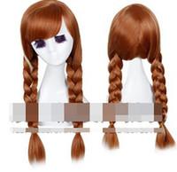 Wholesale EMS Princess Dairy Queen Anna Hair Wigs Cartoon Frozen Cosplay Wig Ice Snow Queen Highlight Braid Hair Wear Hairpiece D2483