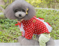 Wholesale Small dog pet shirt dog pet clothes Bow Dots shirt tops dogs shirt clothes dog pet apparel