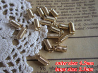 Other Jewelry Findings Metal gold plated jewelry findings 4.5mm outer size spring crimp fastener clasps clips end caps for leather cord 2.5mm