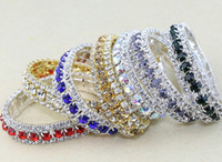 Wholesale Fashion Row Rhinestone Crystal Trims Spring Bracelets Colors inches