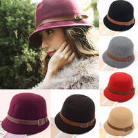 golf bucket hat - Fashion Vintage Autumn Winter Adult Women Fedora Hat Dome Hat England Vintage Bowler Caps Multicolor Ladies Headwear Bucket Hat H3114Z