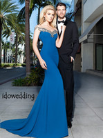 Reference Images Sweetheart Satin Modest Noble Blue Satin Mermaid Sweetheart Tarik Ediz 2014 Evening Dresses Beading Sweep Train Prom Gowns