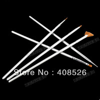 2D Nail Brush 8613# 5 PCS Nail Art Brush Pens Design Acrylic Liner Drawing free shipping Silver 8613