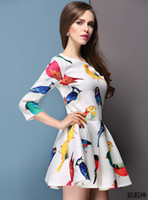 Casual Dresses Round Tea Length Sexy Lady Casual Dress Slim Parrot Figital Printing Women Dresses Show Thin Elegance Ladies Women Spring Clothes