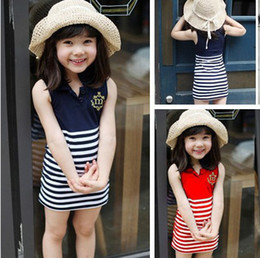 Wholesale 2014 summer new children s clothing baby girls striped skirt embroidered sleeveless lapel chest