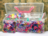 Multicolor tie dye kit - Rainbow Loom kit Portable Convenient Plastic box kit color rubber band loom bandz Tie Dye bands rubber S Clips charm Hook