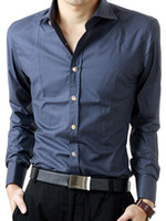 Casual Men Cotton Navy Blue 65% Cotton 35% Polyester Cotton Long Sleeves Mens Shirt silk shirts for men r63 #u11-cAW