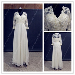 Wholesale 2014 Lovely Wedding Dresses V Neck Sheath Floor Length Ivory Chiffon UK Bridal Gowns Dress with Lace Beads Sheer Long Sleeve Real Photo