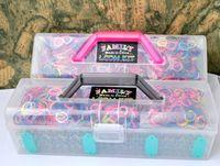 Multicolor tie dye kit - Loom kit Plastic box kit color rubber band Tie Dye bands rubber S Clips charm Hook