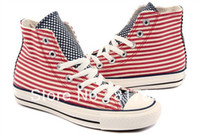 Lace-Up Women  Wholesale Striped canvas high-top shoes men shoes 124280