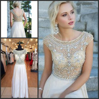 Wholesale 2014 Hot Sell Sheer Illusion Neck Plus Size Evening Gown Cap Sleeve Backless See Through Long Prom Evening Pageant Dresses with Rhinestones