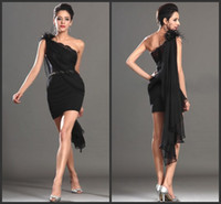Cheap FX Wow!! Black Sheath Cocktail Homecoming Dresses One Shoulder Flowers Beaded Sash Zip Back Mini Length Cocktail Party Sexy Lady Prom Dress