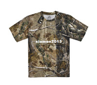 Camping & Hiking Men Short Red head bionic Camouflage outdoor short sleeve round neck t shirt 100% cotton for fishing or camping wear