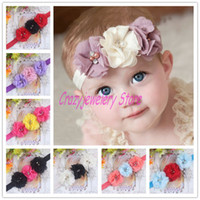 Headbands Cotton Floral Newborn Headbands With Triple Chiffon Flower Kids Elastic Headband Baby Hair Accessories Infant Chiffon Pearl Hairbands Girl Headwear