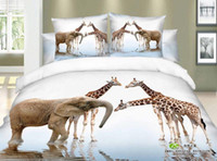 Adult Twill 100% Cotton 3D Giraffe elephant print bedding comforter set sets queen size bedspread duvet cover bed sheet sheets linen linen deer cotton
