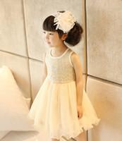 Wholesale Mature Summer Children Girl s Clothing Korean Sweety Girls Sleeveless Sequins Sparkling Dresses Princess Veil Tulle Tutu Dress F0342