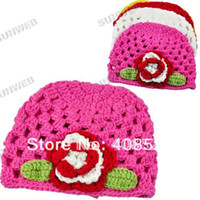 Boy Summer Crochet Hats Lovely Baby hat Handmade Crochet Cotton Knit Wool flower Baby cotton Cap Beanie hat free shipping 5664
