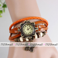 Casual batteries freight - Free Freight Butterfly Pendant Watch Durable Leather Women Vine Watch Lady Bracelet Punk Casual Watches National Popular Style Wristwatch