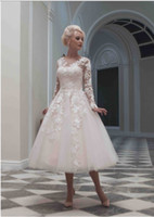 Wholesale 2014 Custom Made Sxey Vintage Wedding Dresses Short A Line Sweetheart Back Zipper Long Sleeve Tea Length Lace Bridal Gowns