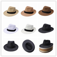 Wholesale Crazy Price Panama Hat Silk Ribbon Decorative Fedora Hats Summer Holiday Man Straw Beach Hat Caps DUP