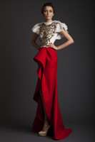 Reference Images High Neck Satin Krikor Jabotian SS14 2014 Evening Dresses Red Satin A-Line High Neck Celebrity Dress Appliques Pleats Cap Sleeves Split Front Prom Gowns