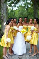 al por mayor '' puerta dh-DH puerta amarillo tafetán sin tirantes A línea de la rodilla-longitud vestidos de damas hechos en China
