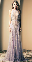 Wholesale Cheap Ziad Nakad Lilac Luxury Prom Dresses Beaded Lace Appliques Illusion Back Sequins Evening Gown Floor Length Sheath Formal Dress