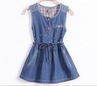 TuTu Summer A-Line 2014 New Girls Denim Vest Dresses Beautiful Cute Sling Princess Denim Dress LG5320CH