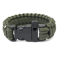 Wholesale Hot New Outdoor Survival Bracelet Parachute Cord Emergency Paracord Camping Bracelet with Whistle Buckle Top Quality DHL