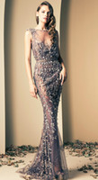 Wholesale 2014 Ziad Nakad Lilac Luxury A line Evening Gowns Prom Dresses Vintage Sheer Neck Scoop Beaded Tulle Appliques Illusion Back Sash Sequins