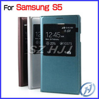 For Samsung S5 S View Flip Leather Case Battery Cover Smart ...